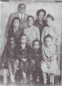 The Muoria family in 1966. Wangari, aged 11, is in the middle, middle row